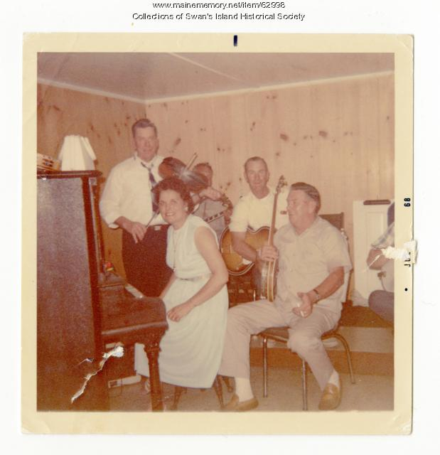 Musicians for dances at Mertic Morrison's restaurant, Swan's Island, ca.1968
