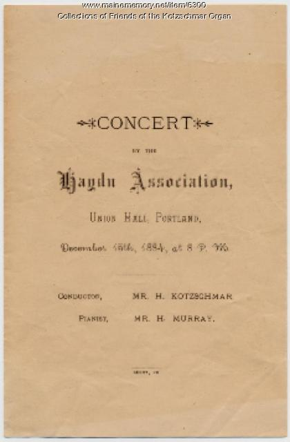 Haydn Association concert program, Portland, 1884