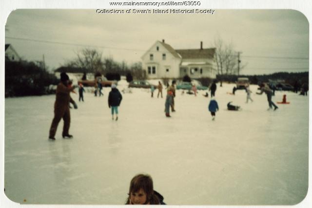 Skating on Mallye's Pond, Swans Island, 1987