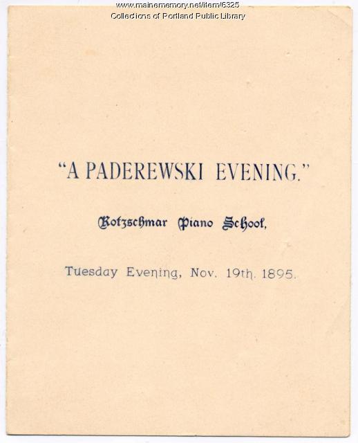Choral program for 'A Paderewski Evening'