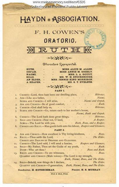 F. H. Cowen oratorio program, Portland, 1890