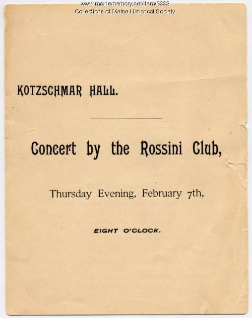 Rossini Club concert program