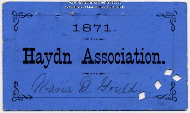 Haydn Association membership ticket, Portland, 1871