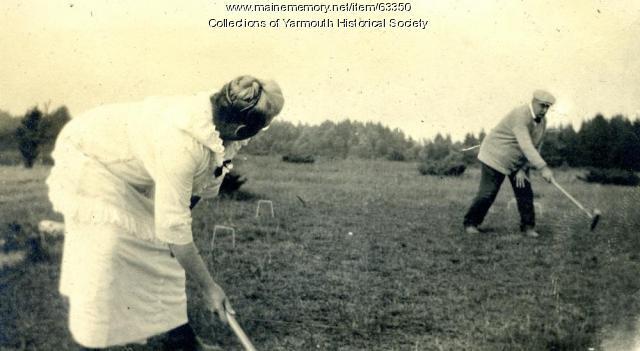Croquet on Harmony Hill, Cousins Island, ca. 1920