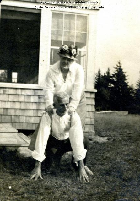 Mike Duran and guest, Cousins Island, ca. 1920
