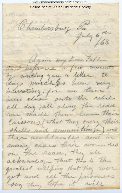 John Sheahan on aftermath of Gettysburg, 1863