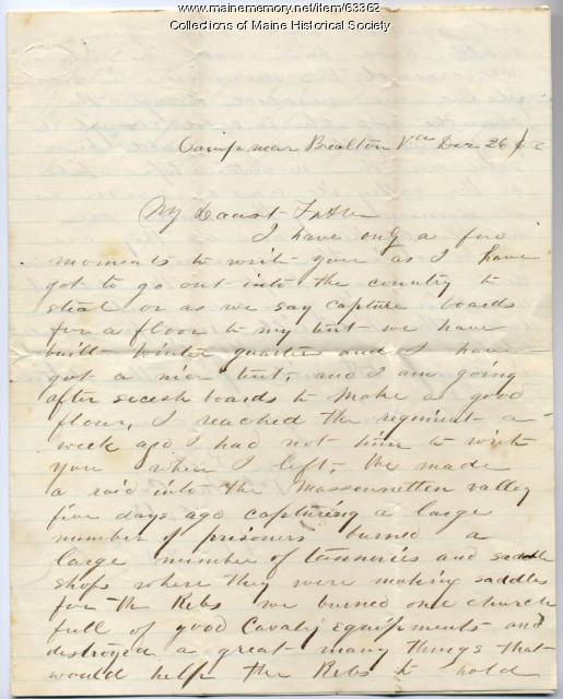John Sheahan on return to regiment, Virginia, 1863
