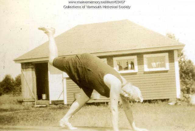 Connie Duran, the acrobat, Cousins Island, ca. 1920
