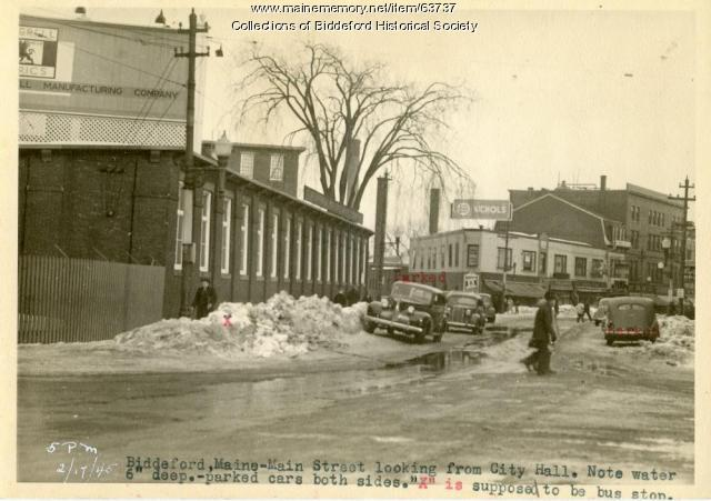 Snow covered streets, Biddeford, 1945