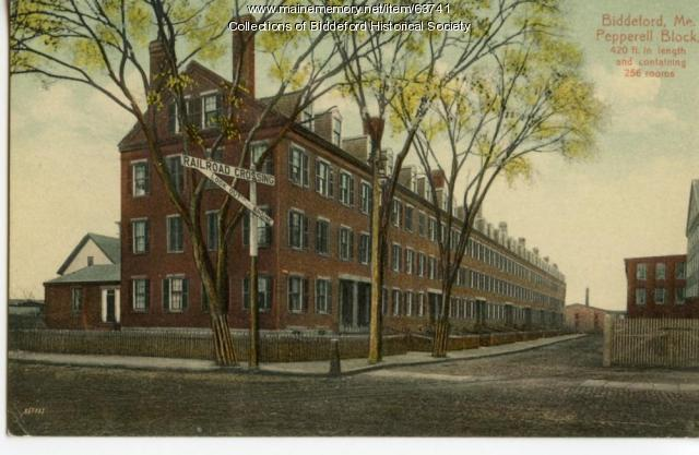 Pepperell boarding house block, Biddeford, ca. 1900