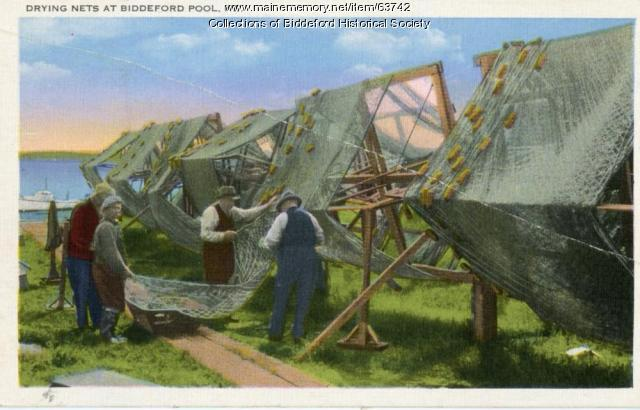 Drying nets at Biddeford Pool, ca. 1920