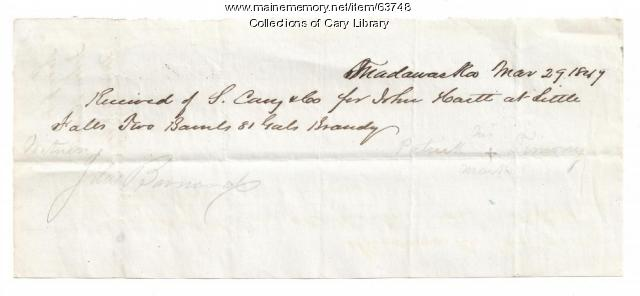 S. Cary and Co. receipt for brandy, Madawaska, 1847