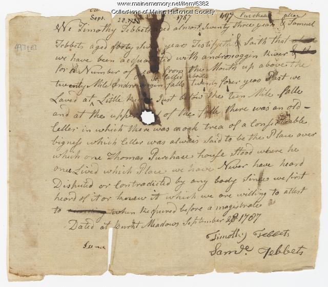 Tebbets deposition, Ten Mile Falls, 1787