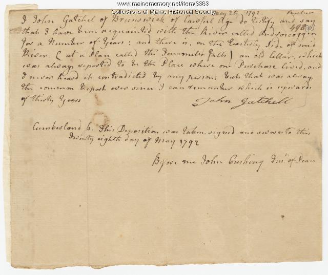 John Gatchel deposition, Ten Mile Falls, 1792