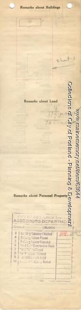 Assessor's Record, 15 Monroe Street, Portland, 1924