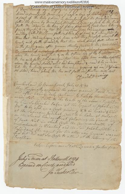Ten Mile Falls deposition, 1793