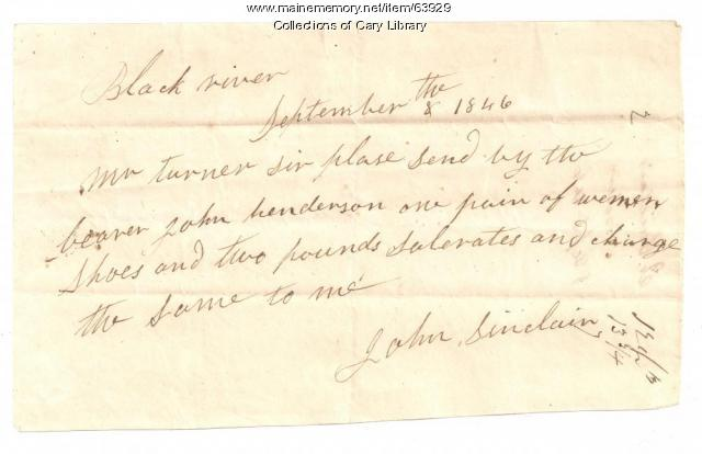 S. Cary and Co. agent John Sinclair order of 1846-09-08