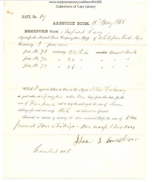Shepard Cary receipt from Isaac L. Cornelius, Fort Fairfield, 1848