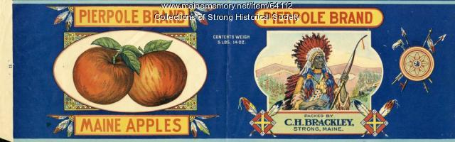 Pierpole Brand Maine Apples can label, ca. 1924