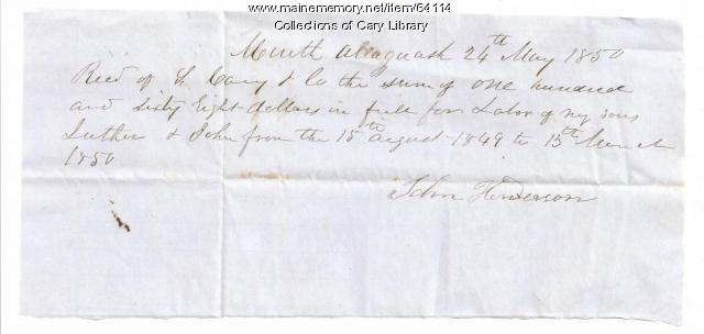 S. Cary and Co. receipt from John Henderson, Allagash, 1850