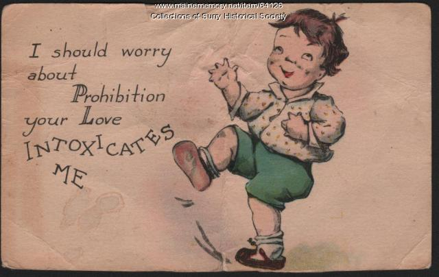 Prohibition Postcard, Surry, 1927