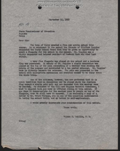 Letter to State Commisioner of Education from Wilson G. Smillie, Surry, 1952