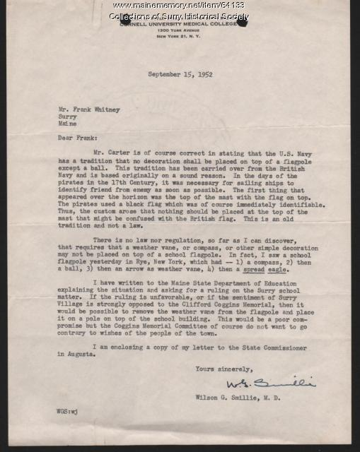 Letter to Mr. Frank Whitney from Wilson G. Smillie, Surry, 1952