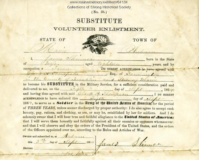 Civil War Substitute Volunteer Enlistment, Auburn, 1864