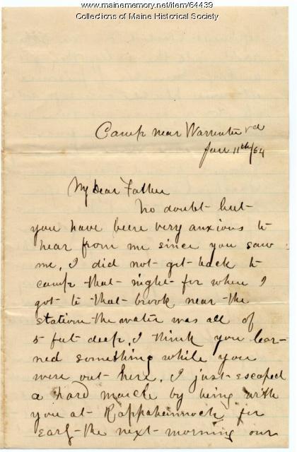 John P. Sheahan to father on recent visit, Warrenton, Va., 1864