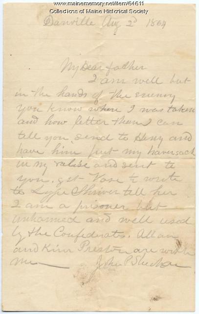 John P. Sheahan from POW prison, 1864