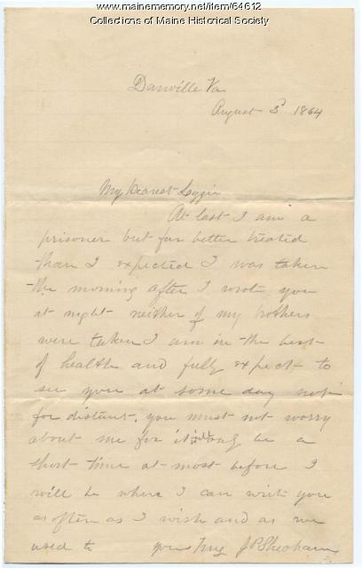 Lt. John Sheahan to Lizzie Shriver, 1864