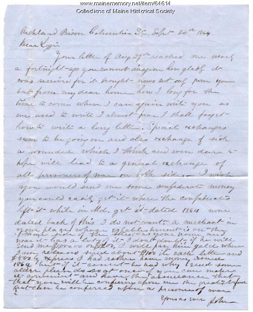 POW John Sheahan to Lizzie Shriver, 1864