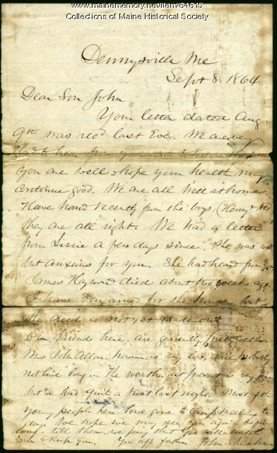 John Sheahan Sr. to son in POW prison, 1864