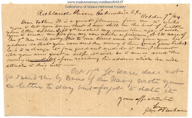 POW Sheahan request for money, South Carolina, 1864