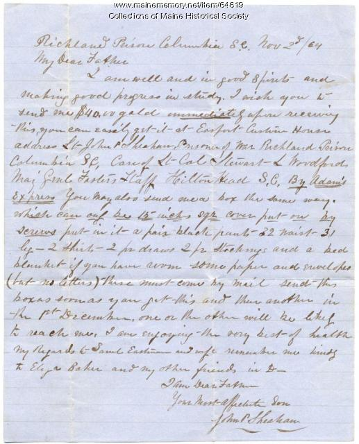 POW Sheahan plea for money, South Carolina, 1864