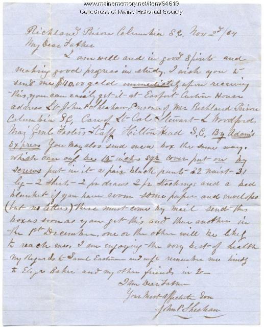 POW Sheahan plea for money, South Carolina, 1864