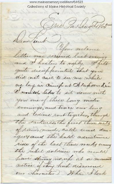 Letter to John Sheahan recalling escape, 1865