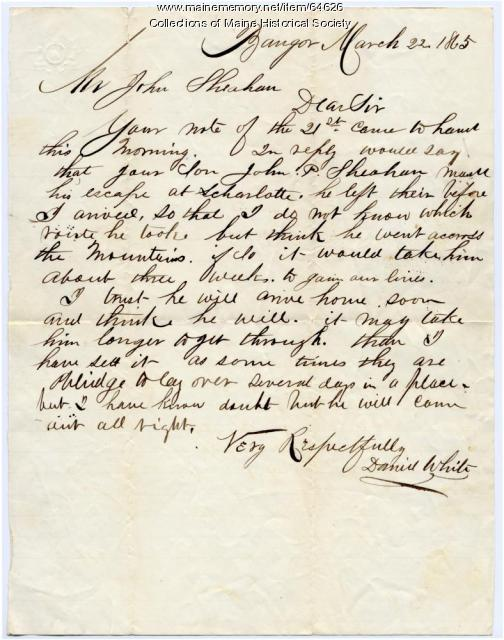 Letter to John Sheahan about son, 1865