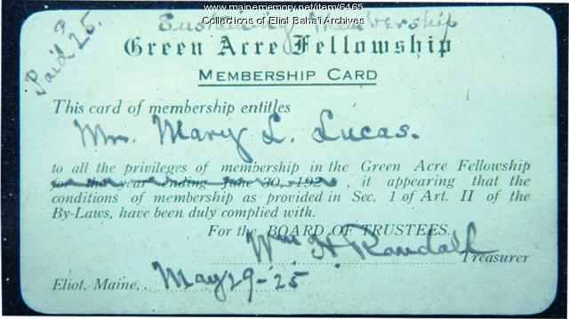 Green Acre Fellowship membership card