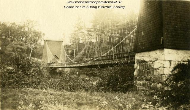 South abutment of wire suspension bridge, Strong, ca. 1895