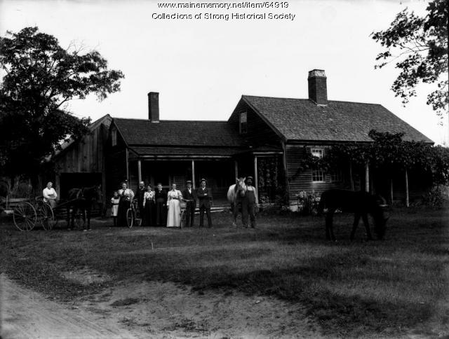 Group at Charles B. Conant Homestead, Strong, ca. 1900
