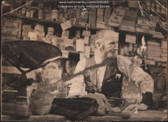 John Merrill store owner, Surry, ca. 1900