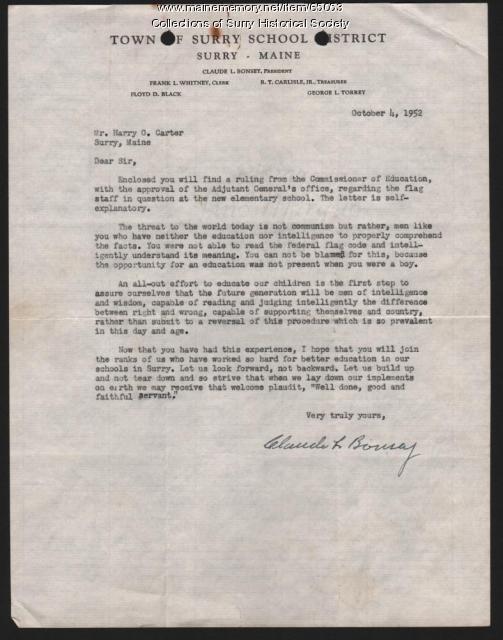 Claude L. Bonsey Flag Letter, Surry, 1952