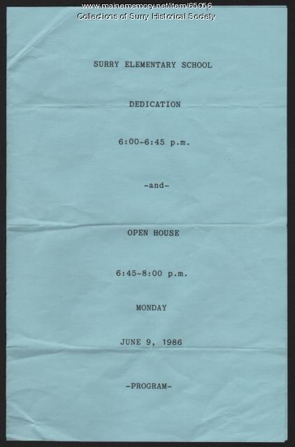Elementary School dedication program cover, Surry, 1986