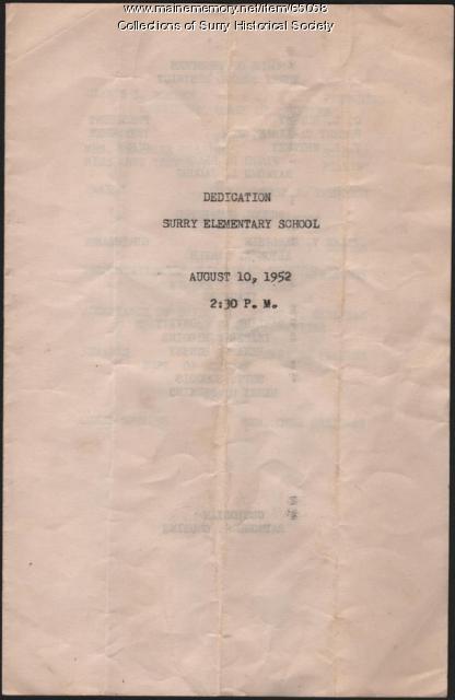 Elementary School dedication program cover, Surry, 1952