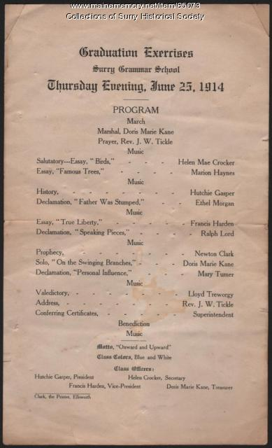 Surry Grammar School graduation program, Surry, 1914