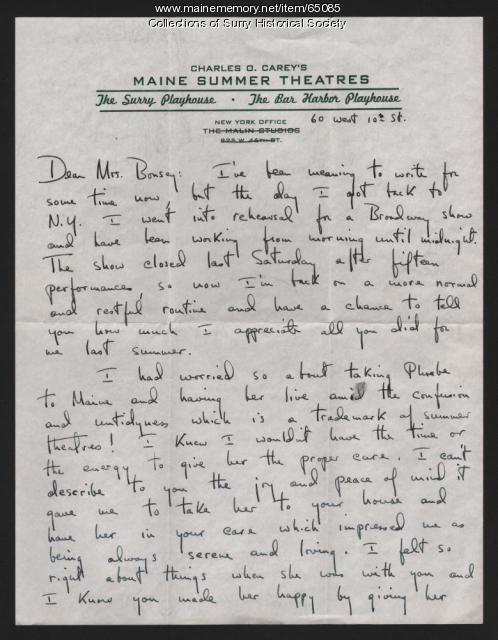 Letter to Mrs. Claude Bonsey from Mary Grace Carey, New York, N.Y., 1953