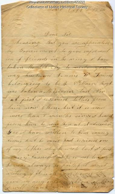 Letter seeking information on POW husband, Saco, 1864