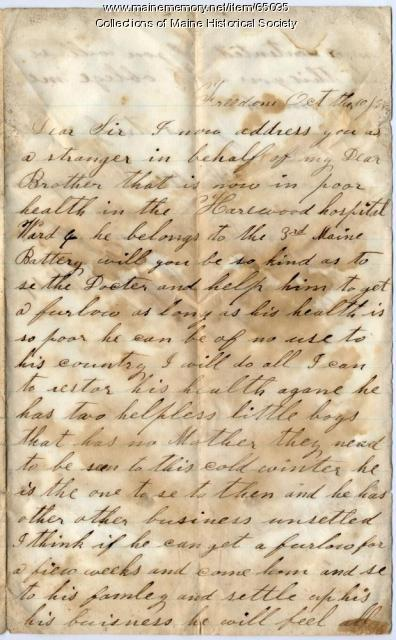 Sister's plea for furlough for brother, 1864