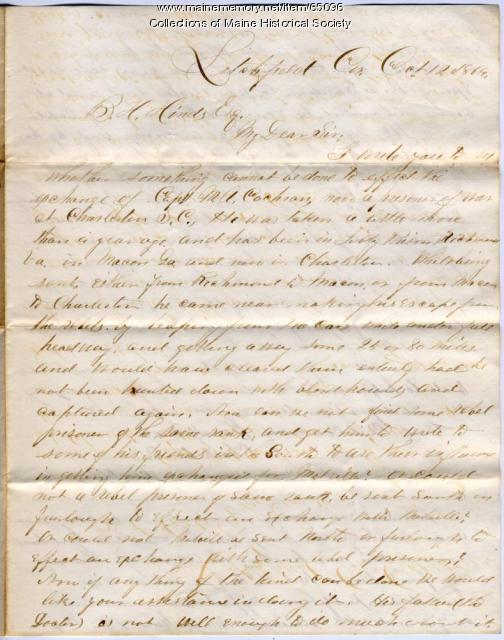 Request for prisoner exchange, Litchfield, 1864